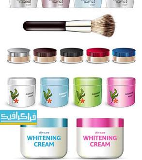 دانلود وکتور محصولات آرایشی - طراحی واقعی