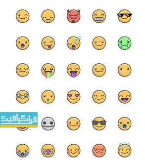 دانلود وکتور استیکر های شکلک - Emoticon Stickers