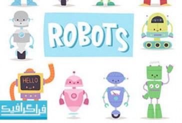 دانلود وکتور روبات های کارتونی بامزه – رایگان