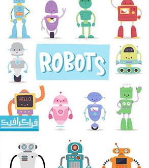 دانلود وکتور روبات های کارتونی بامزه - رایگان