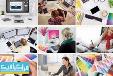 دانلود تصاویر استوک طراح گرافیک در حال طراحی