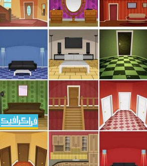 دانلود وکتور طرح های نمای داخلی خانه - فلت
