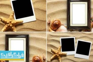 دانلود تصاویر استوک قاب عکس روی شن و صدف