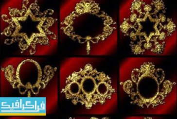 دانلود وکتور قاب های عکس طلایی واقعی