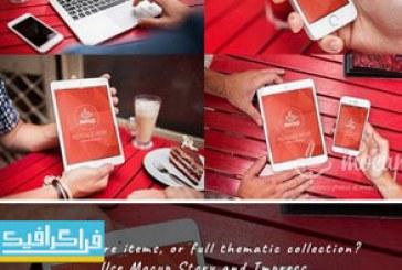 دانلود ماک آپ فتوشاپ موبایل – تبلت – لپ تاپ – محیط کافه خیابانی