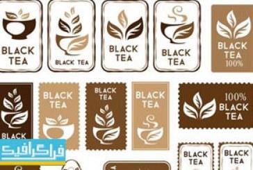 دانلود وکتور نشان و برچسب های چای سیاه