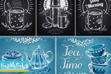دانلود وکتور طرح های قوری چای و فنجان قهوه – ترسیمی