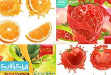 دانلود وکتور طرح های تبلیغاتی میوه – 3 بعدی واقعی