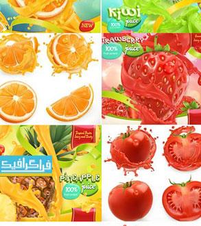 دانلود وکتور طرح های تبلیغاتی میوه - 3 بعدی واقعی
