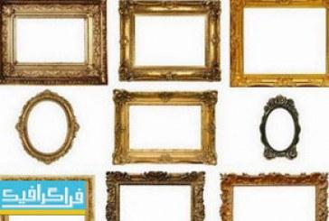 دانلود تصاویر استوک قاب عکس و آینه طلایی کلاسیک