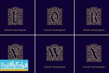 دانلود لوگو های مونوگرام حرف انگلیسی با تاج – لایه باز وکتور