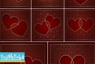 دانلود وکتور پس زمینه های قلب با پترن تزئینی