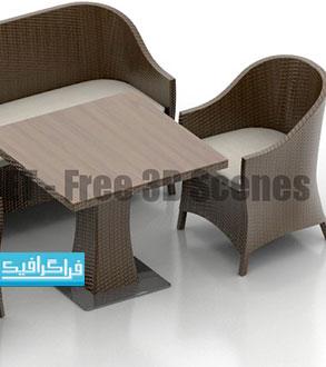 دانلود مدل سه بعدی میز و صندلی - رایگان