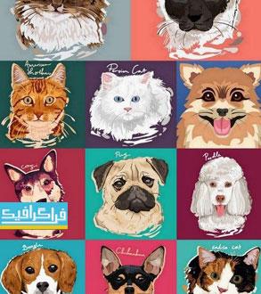دانلود وکتور تصاویر نقاشی سگ و گربه