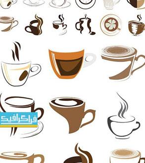 دانلود لوگو های فنجان قهوه - لایه باز وکتور