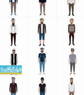 دانلود وکتور طرح های مرد با ریش و سبیل - فلت