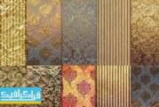 دانلود پترن کاغذ دیواری های گلدار طلایی کلاسیک – فایل تصویری