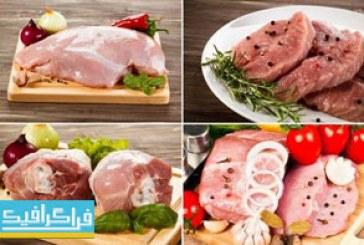 دانلود تصاویر استوک گوشت خام قرمز و مرغ با ادویه و سبزیجات