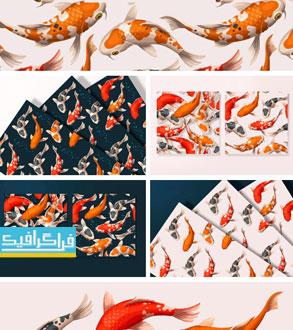 دانلود پترن های ماهی قرمز - وکتور و فایل تصویری