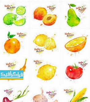 دانلود وکتور های میوه - طرح آبرنگ گرانج
