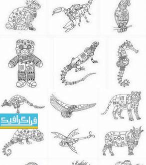 دانلود وکتور حیوانات - طرح مکانیکی - Mechanical Animals