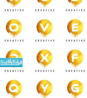 دانلود لوگو های حروف انگلیسی طلایی - لایه باز وکتور