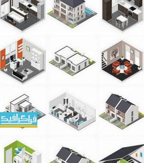 دانلود وکتور نمای داخلی و خارجی خانه - ایزومتریک