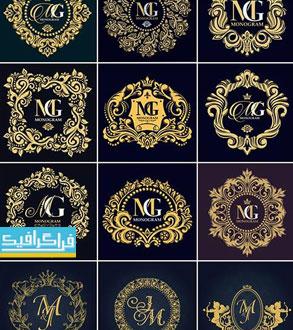دانلود لوگو های مونوگرام طلایی - وکتور لایه باز - شماره 2