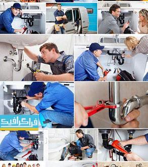 دانلود تصاویر استوک لوله کش و ابزار آلات - Plumber