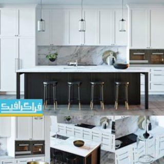 دانلود مدل سه بعدی آشپزخانه دیزاین سیاه و سفید