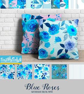 دانلود پترن گل رز آبی طرح آبرنگ - فایل تصویری