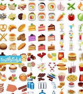 دانلود وکتور مواد غذایی مختلف Food Vectors - شماره 3
