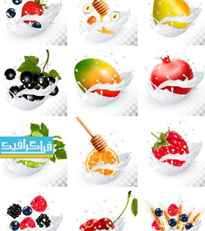 دانلود وکتور طرح های شیر پاشیده شده روی میوه