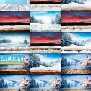 دانلود تصاویر استوک زمستان برفی با طاقچه چوبی