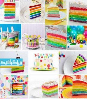 دانلود تصاویر استوک کیک تولد رنگارنگ خوشمزه