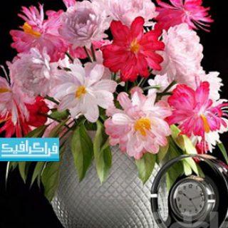 دانلود مدل سه بعدی گلدان گل و ساعت