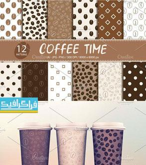 دانلود پترن های قهوه لایه باز وکتور و فایل تصویری