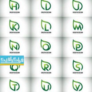 دانلود لوگو های حروف انگلیسی - طرح برگ سبز