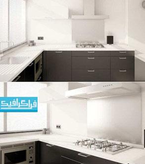 دانلود مدل سه بعدی آشپرخانه مدرن سیاه و سفید