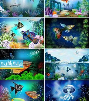 دانلود وکتور تصاویر گرافیکی زیر آب اقیانوس