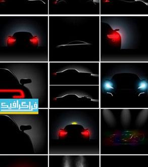 دانلود وکتور های اتومبیل در تاریکی با چراغ روشن