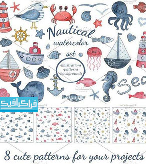 دانلود پترن های دریا و حیوانات دریایی - فایل تصویری