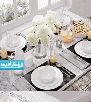 دانلود مدل سه بعدی ظروف و وسایل میز صبحانه
