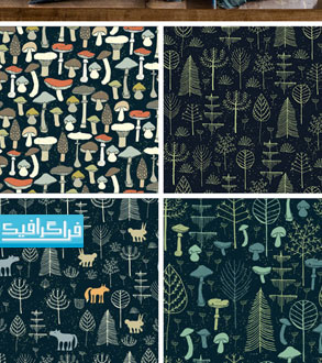 دانلود پترن های جنگل جادویی وکتور و فایل تصویری - رایگان